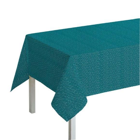 Tovaglia quadrata in cotone con decori, blu, 150x150 cm