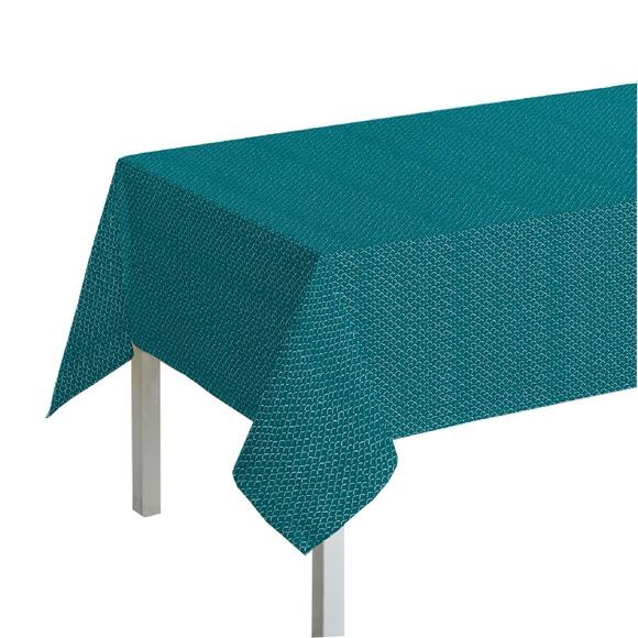 Achat en ligne Nappe 150x150cm en coton imprimé bleu peacock