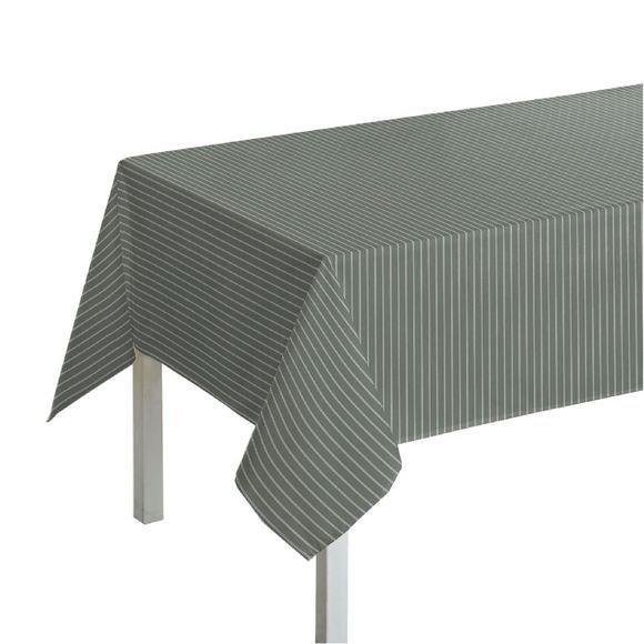 Tovaglia quadrata in cotone a righe grigio e bianco, 150x150 cm
