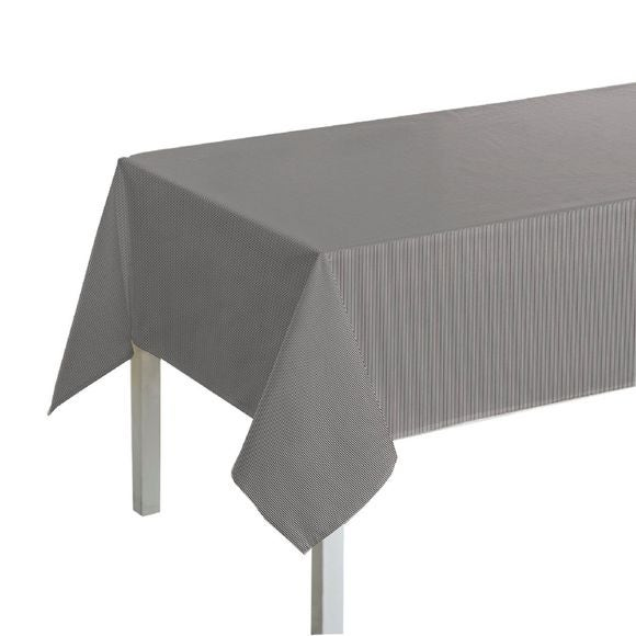 Tovaglia rettangolare in cotone a righe grigio bianco, 150x250 cm