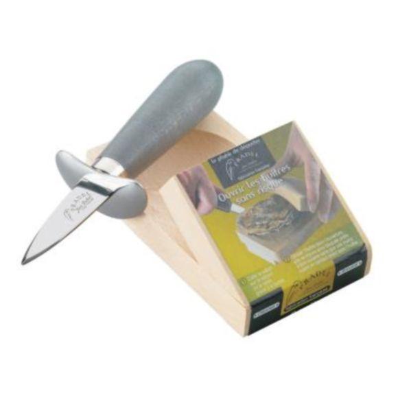 Set base in legno e coltello apri ostriche