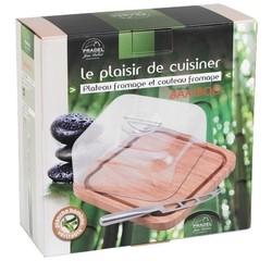 acquista online Tagliere 27x11,5 cm in bamboo con coltello e campana in vetro