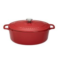 Achat en ligne Cocotte ovale en fonte rouge 31cm 5,6L