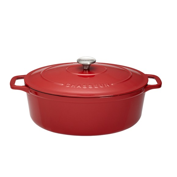 Cocotte ovale in ghisa rossa 31cm,  5,6 L
