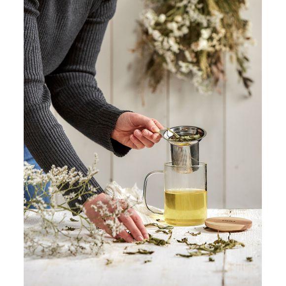 acquista online Tisaniera vetro con filtro acciaio e coperchio in legno 50 cl