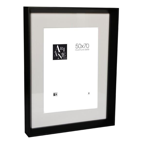 cadre photo 50x70 pente noir avec passe partout pas cher. Black Bedroom Furniture Sets. Home Design Ideas