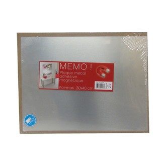 Plaque magnétique brossé 30x40cm avec adhésifs