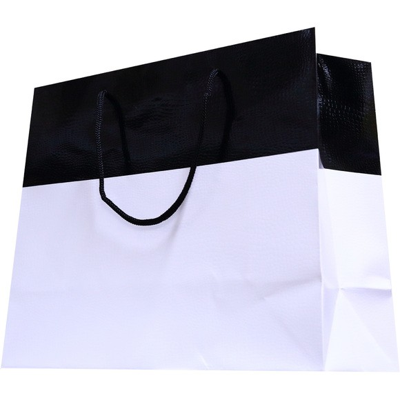 Achat en ligne Sac cadeau noir et blanc Lézard 43x17x33cm