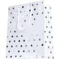 Sac pochette cadeau 12x7x15cm blanc avec pois argentés