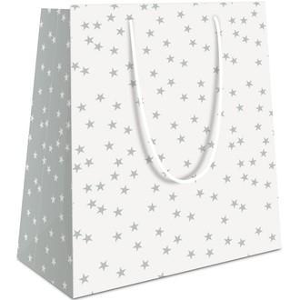 Sac pochette cadeau 23x18x10cm blanc imprimé étoiles grises