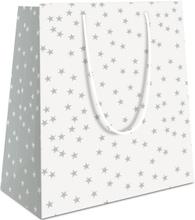 Achat en ligne Sac pochette cadeau 23x18x10cm blanc imprimé étoiles grises