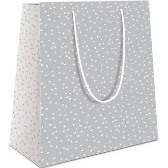 Sac pochette cadeau 40x32x14cm blanc imprimé étoiles grises