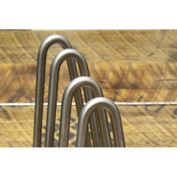 Pied filaire incliné pour meuble acier brut h16cm