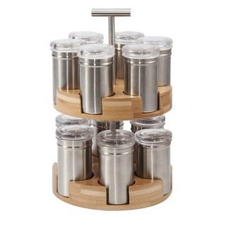 ZODIO - Support 12 pots à épices en bambou et inox