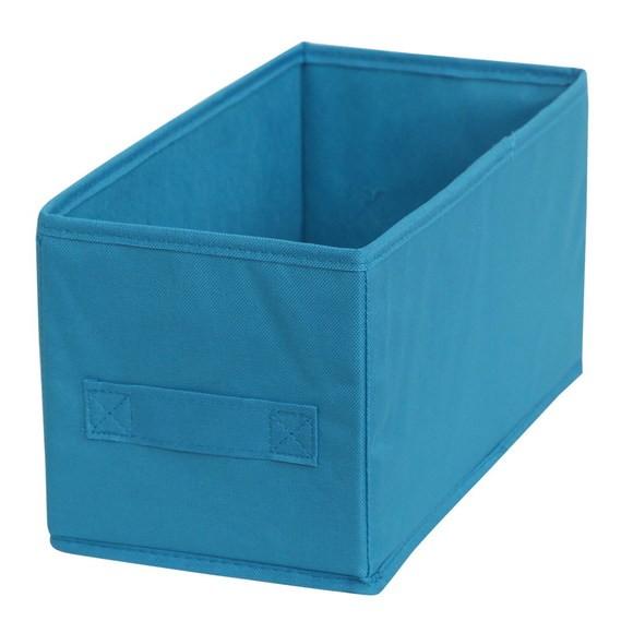 Bac de rangement en polyester tissé turquoise 15x31x15cm