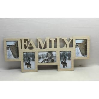 Pêle-mêle photos family bois - 5 vues 65x25cm