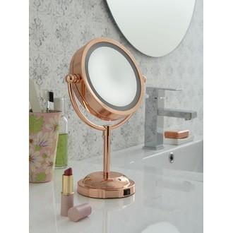 Miroir grossissant lumineux à poser en cuivre double face X5 diamètre 15cm