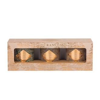 DURANCE Coffret 3 bougies Sapin/Speculoos/Myrrhe 75g
