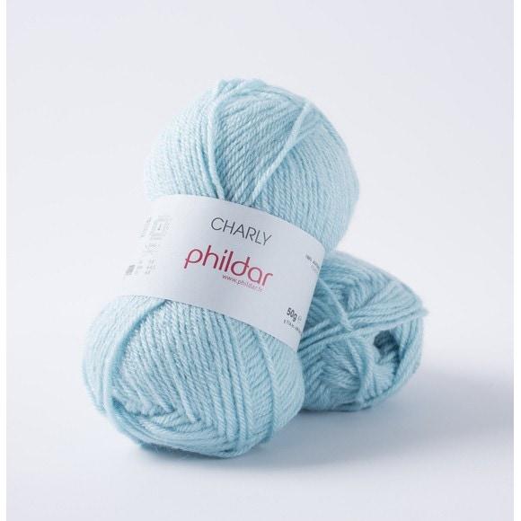 Pelote de laine Charly bleu azur 50g
