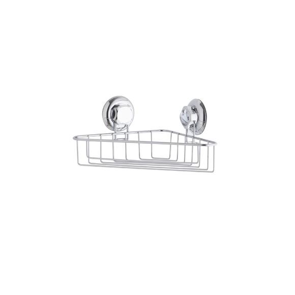 Porta oggetti doccia ad angolo con ventosa 28,5x16,5x12,5cm