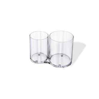 Pot à pinceaux ou crayons transparent - 2 compartiments 15,1x8,3x10,4cm