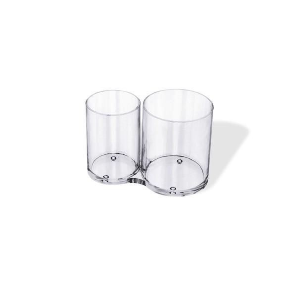 Pot à pinceaux transparent 2 compartiments 15,1x8,3x10,4cm