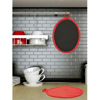 Manique de cuisine ovale en coton et silicone rouge Tymeo