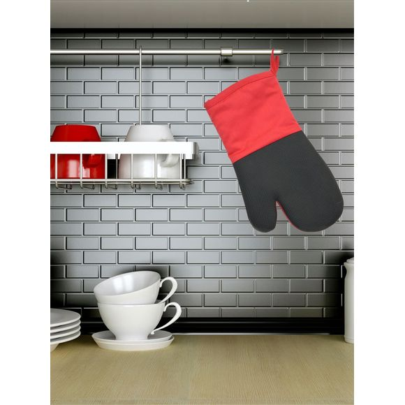 Gant de cuisine en textile/silicone rouge Tymeo