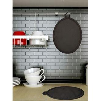Manique de cuisine ovale en coton noir Tymeo