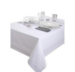 Achat en ligne Nappe 180x180cm en coton avec bande satin blanche