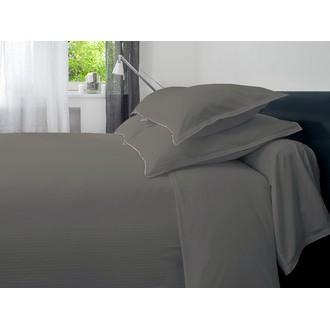 MAOM - Drap plat à rayures en satin gris 240x310cm