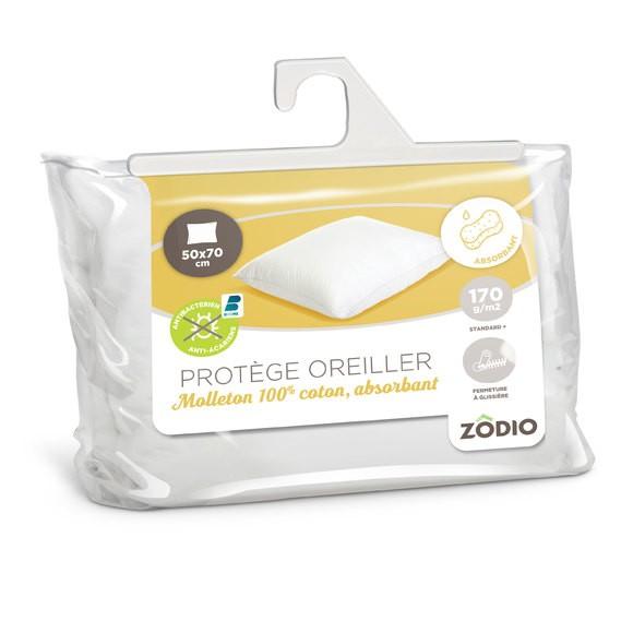 Protège oreiller en molleton absorbant anti acariens 50X70cm