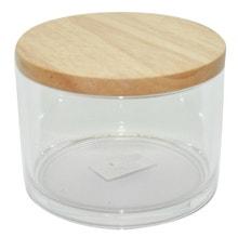 Achat en ligne Boite à coton ronde transparente avec couvercle en bois