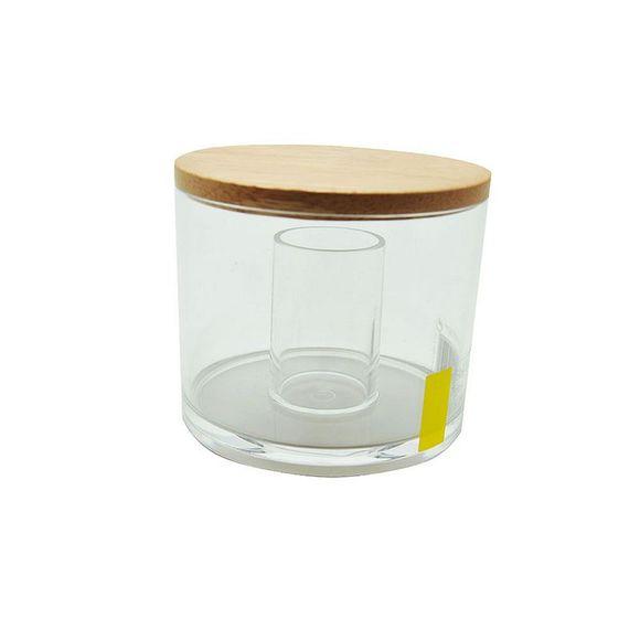 Achat en ligne Boite à coton et coton-tiges transparente- couvercle en bois