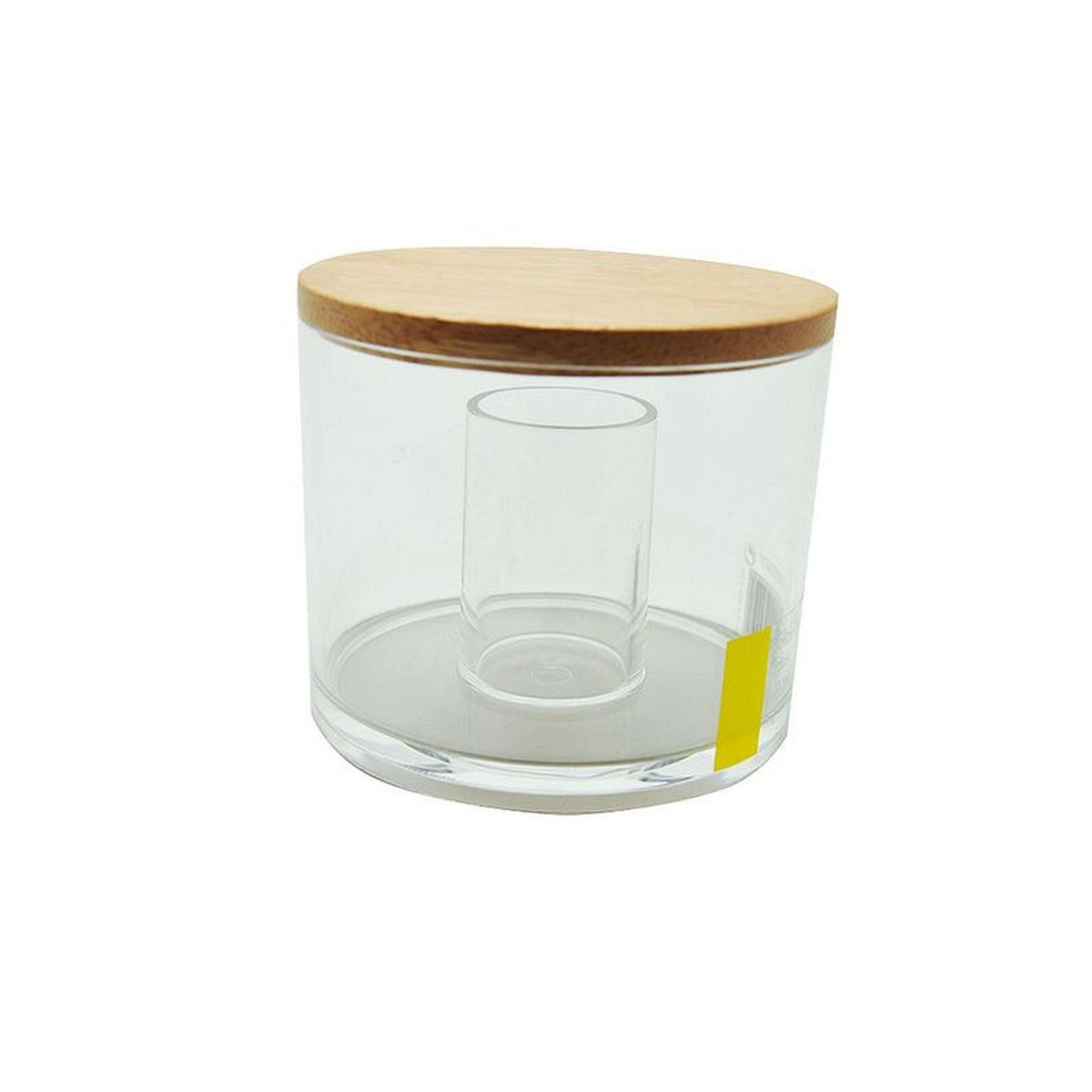 Taille L + Szie Cabilock Boule de Coton en Verre//Coton-Tige//Pot de Rangement Q-Tips Organisateur de Boule de Coton pour Salle de Bain