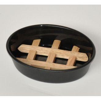 Porte savon en bambou et plastique noir Ebonite