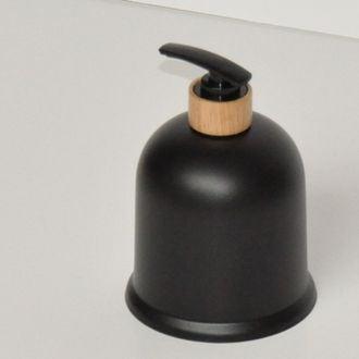 Distributeur de savon en bambou et plastique noir Ebonite