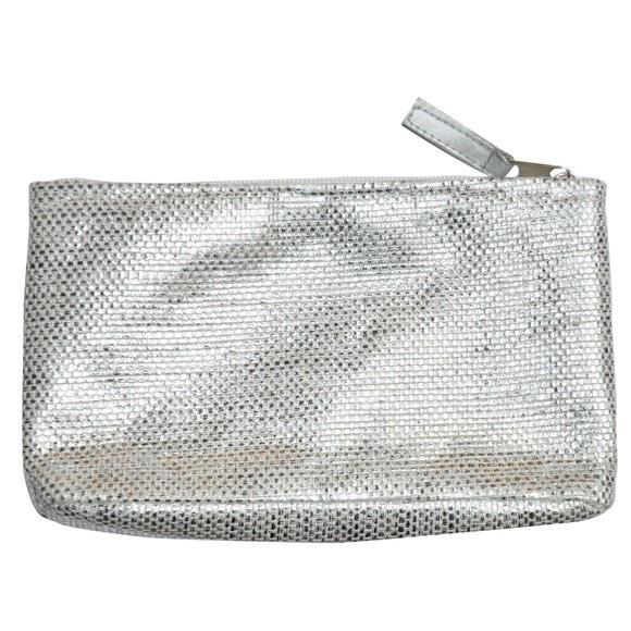 Trousse de maquillage argentée H11,5x20cm