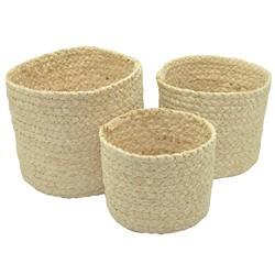 Achat en ligne Set de 3 paniers ronds tressés beige 16x14cm