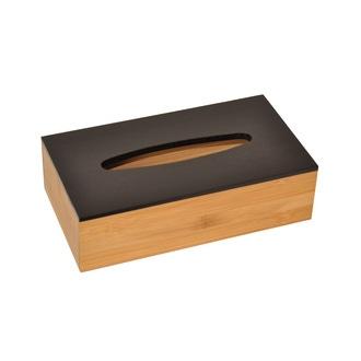 Boite à mouchoirs en bambou, couvercle noir 25x13,5x7cm