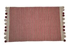Achat en ligne Tapis en coton rayé terracota finition pompons Stripes