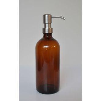 Bouteille en verre ambrée avec pompe satinée 0,5L