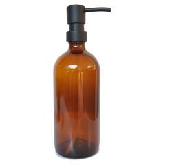compra en línea Botella de cristal ámbar con dispensador de jabón negro de 0,5 L