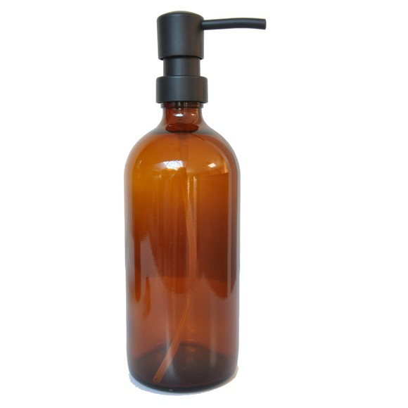 Bottiglia di vetro ambrato da 0,5L con pompa nera