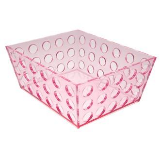 Vide poche transparent en plastique rose