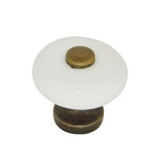 Bouton de meuble en porcelaine laitonné et zamak blanc