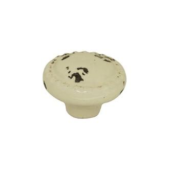 Bouton de meuble rond en finition antique ivoire 4cm