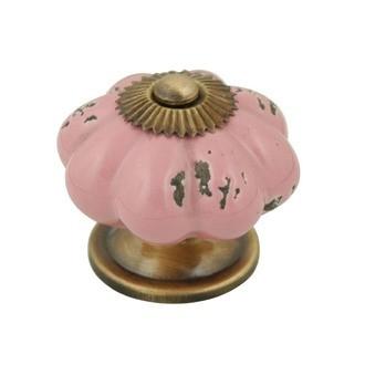 Bouton de meuble fleur en porcelaine antique vieux rose 4cm