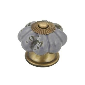 Bouton de meuble fleur en porcelaine antique prune 4cm