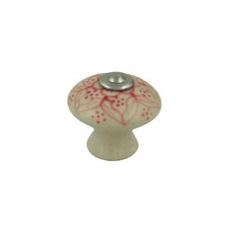 Bouton de meuble fleur en porcelaine vieux rose Ø3cm